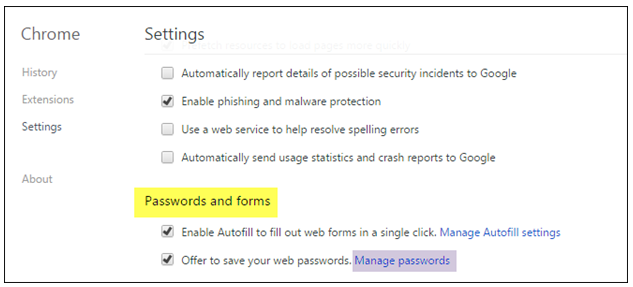 how to look at saved passwords on chrome