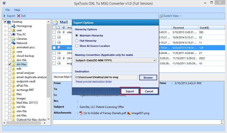 Convert DXL to MSG