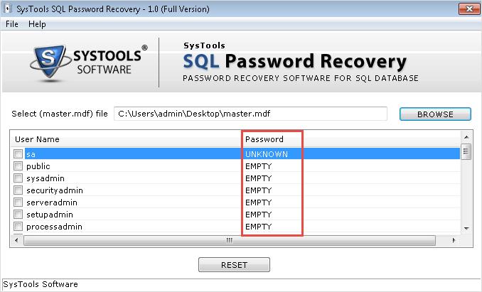 Remove SQL Database Password