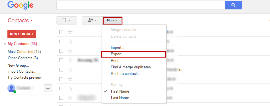 google office contact. click on more\u003e\u003e export. google office contact