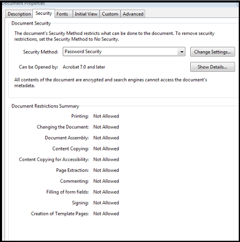 PDF file security Summary
