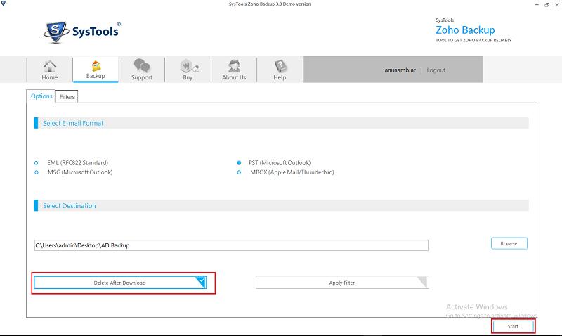 Delete after Download & Start Backup