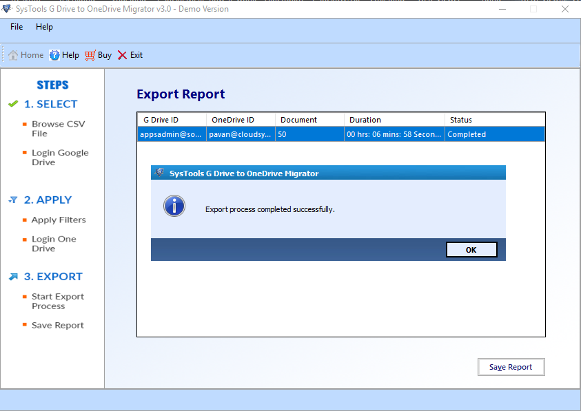 Export G Drive files to OneDrive successfully