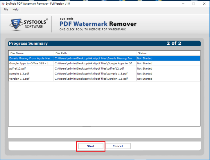 Click Start to erase watermark from PDF files