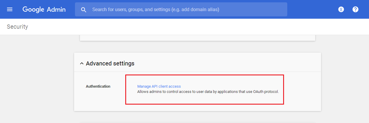 choose Security option from the Admin Console. Click the Advance Settings