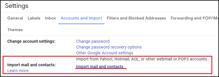 Import mail and contacts option