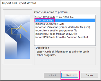 select export to file option
