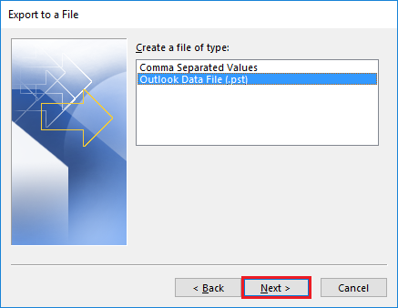 select outlook pst file to export
