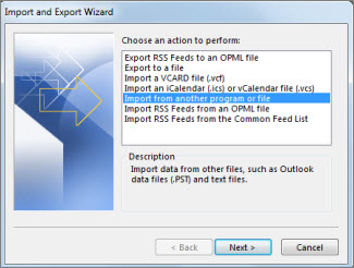 select import from another file option in outlook 2019