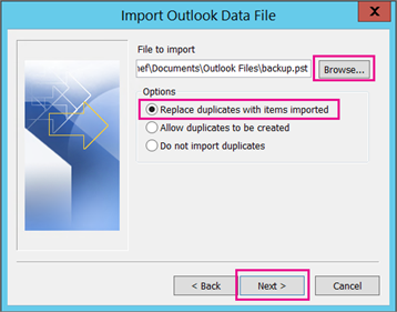 select pst file to import into outlook