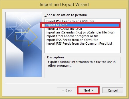 Export PST File
