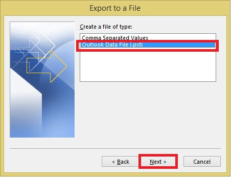 Export Outlook Data File