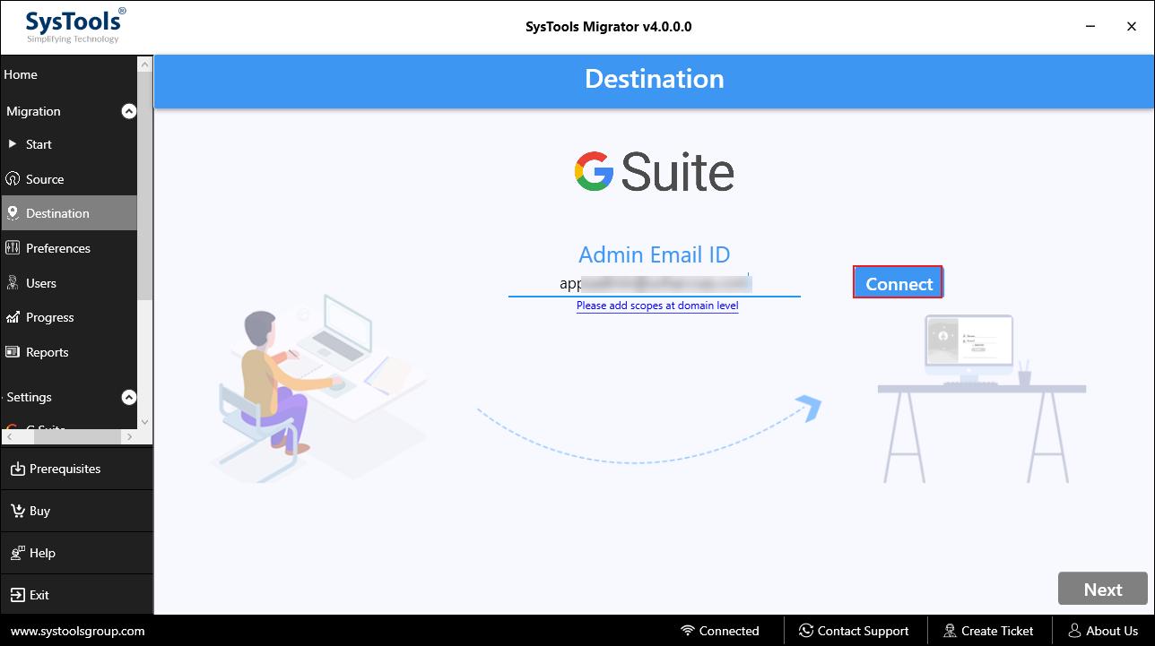 destination G Suite Admin Email ID