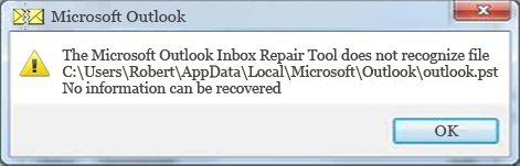 inbox repair tool error message