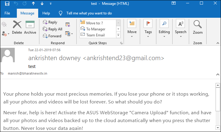 open outlook email