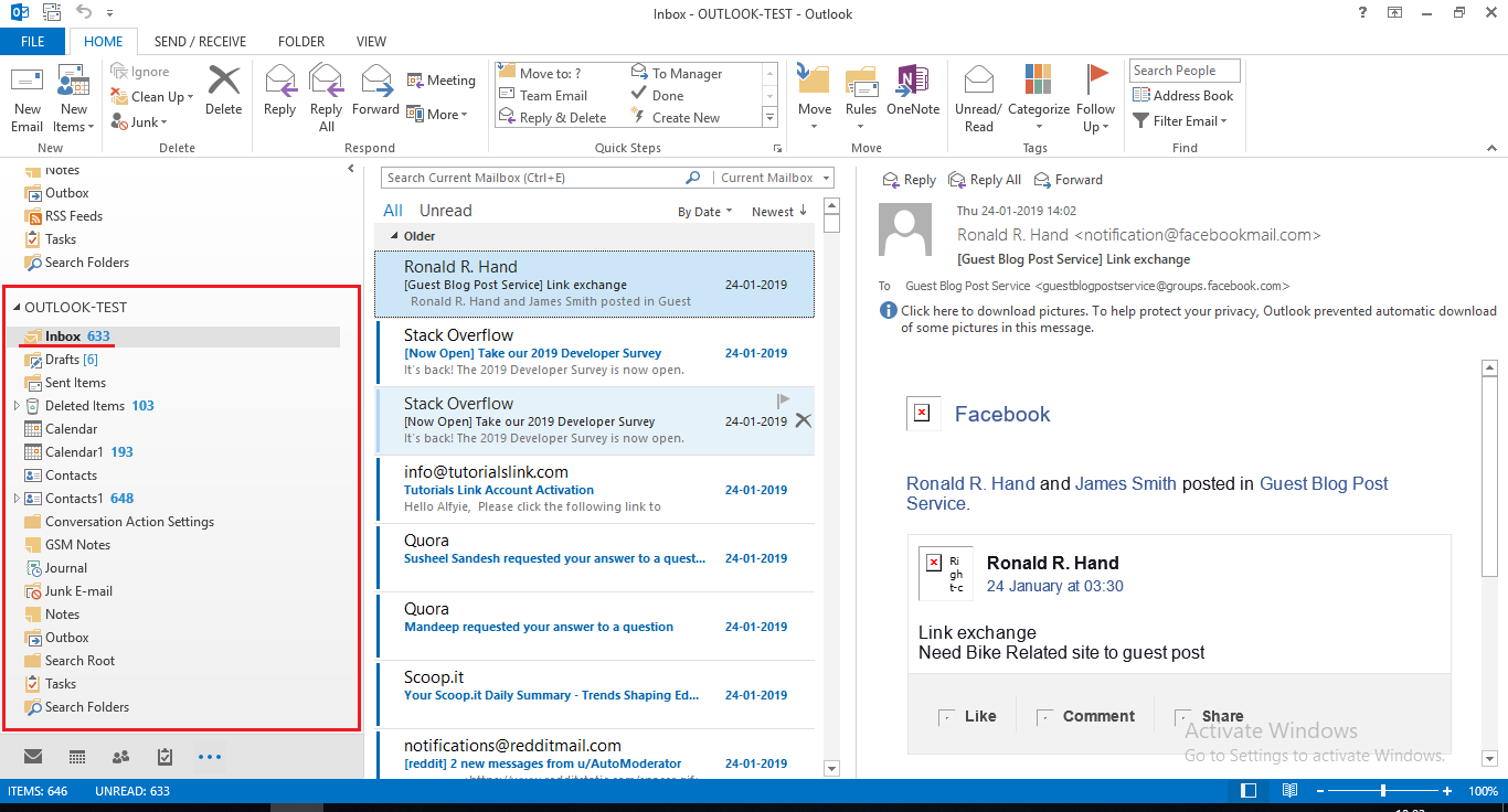 access corrupt emails in Outlook