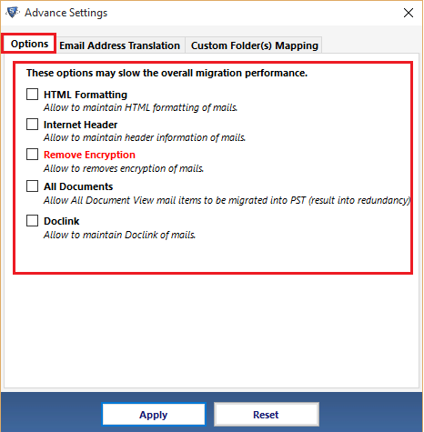 Advance Settings to Convert NSF to PST without Lotus Notes