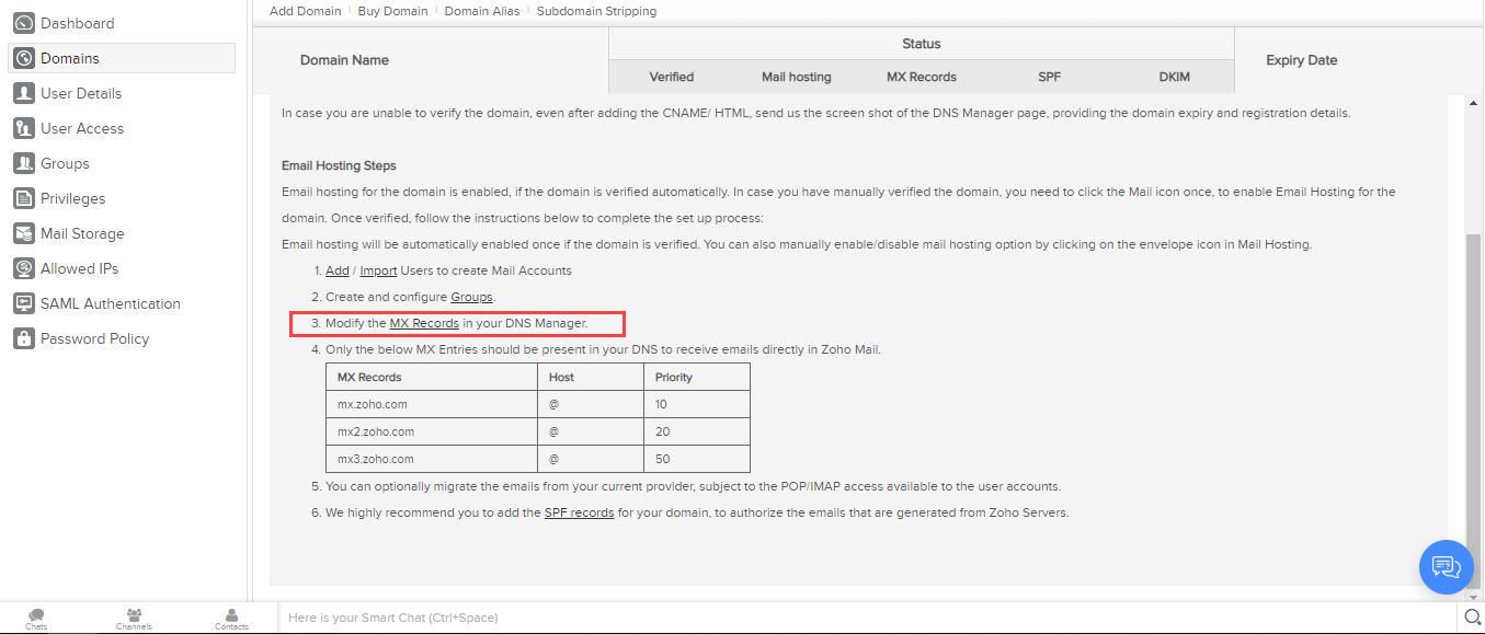 modify MX record option select
