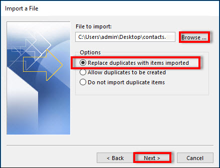 outlook 2010 crashes when importing contacts