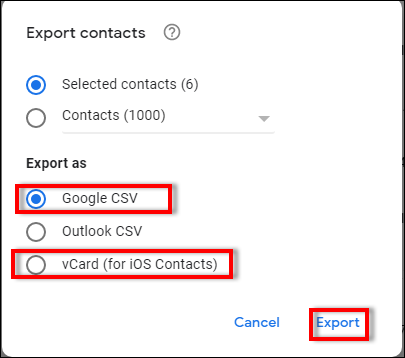 how to export contacts from one gmail account to another