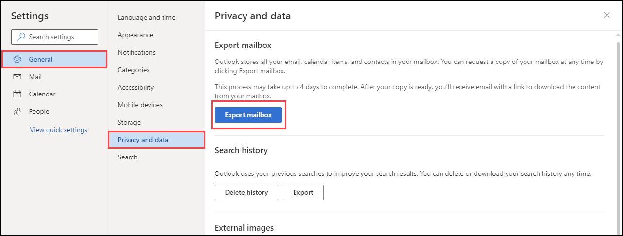 Export mailbox option to backup emails from outlook.com