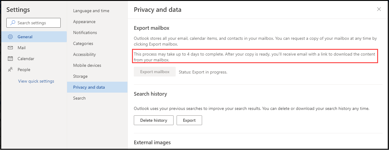 export mailbox option click
