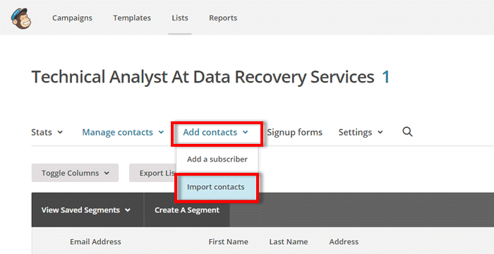 importing outlook contacts into mailchimp