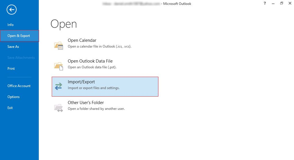 import in Outlook