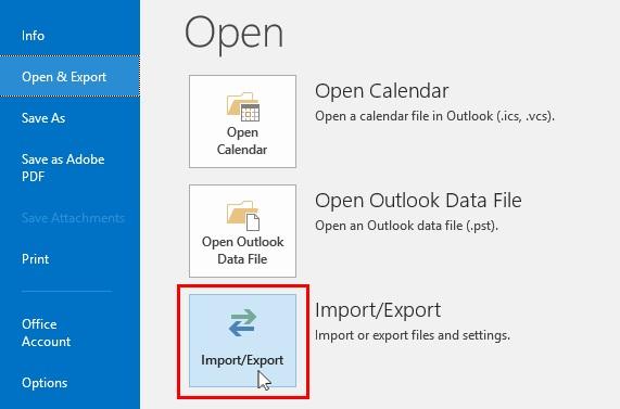 Windows Outlook Import/Export