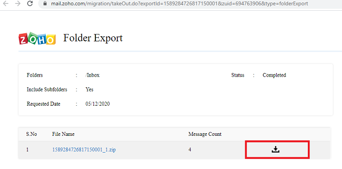 zoho export emails