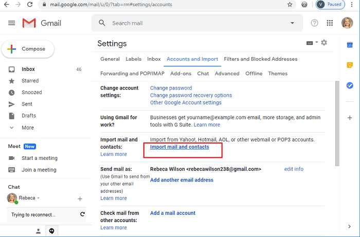 Import emails from Zoho to Gmail