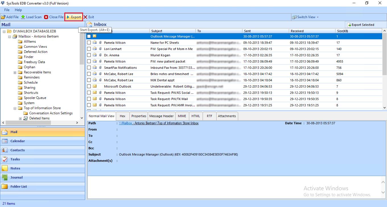 preview edb mailboxes