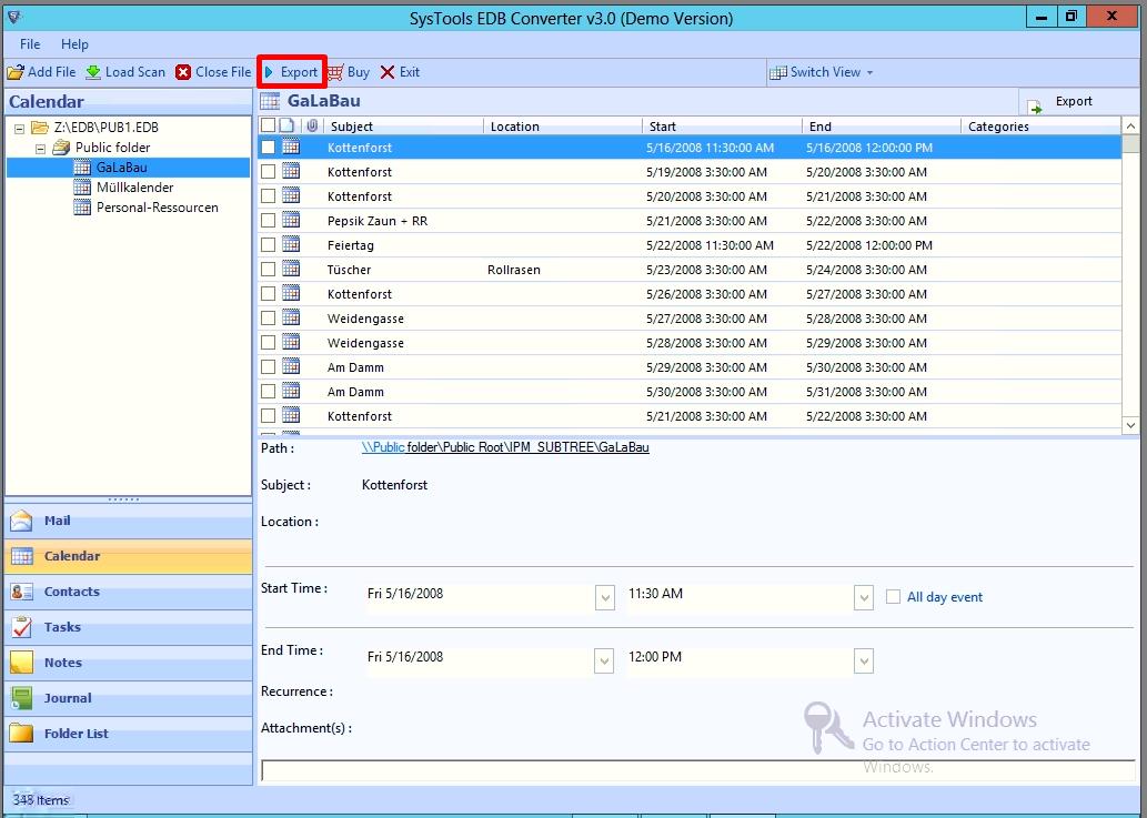 preview public folde edb file