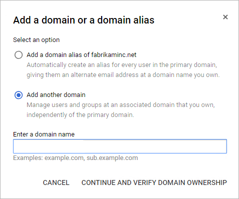 Continue and verify domain ownership