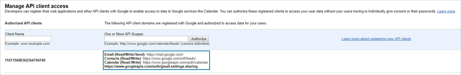 Authorize button