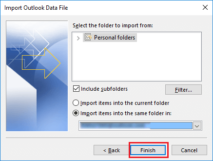 finish import pst file to outlook