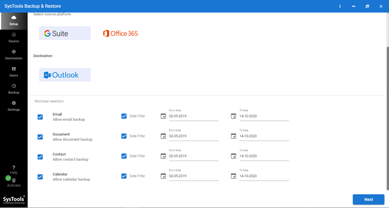archive google workspace email tool interface