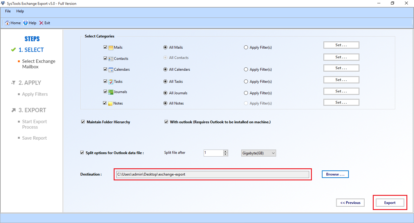 click export button to backup mailboxes
