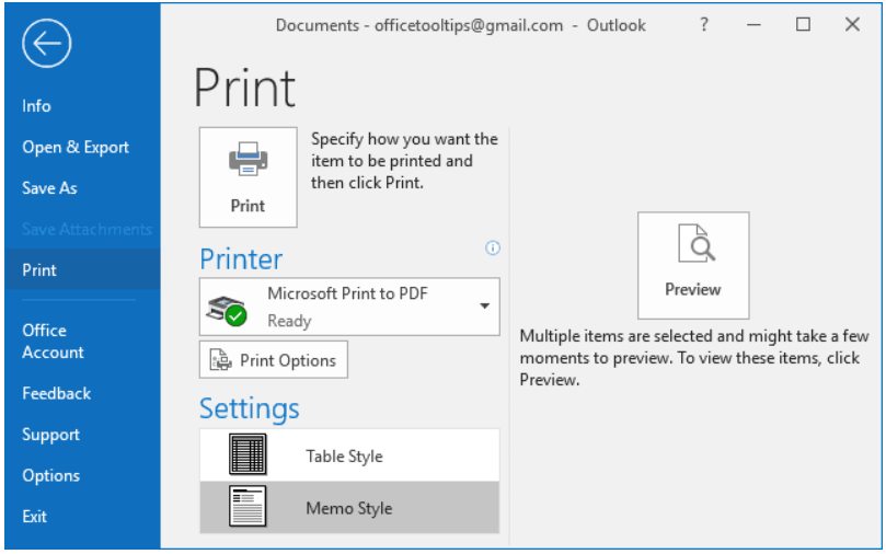 print email outlook